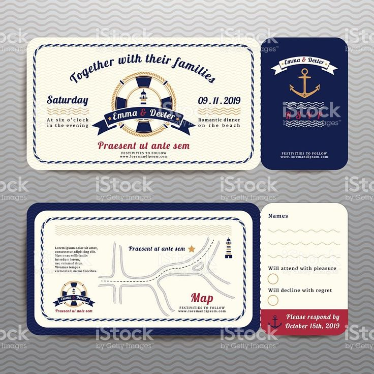 マリンチケットのウェディング招待カードと RSVP のアンカーとロープ ロイヤリティフリーのイラスト素材
