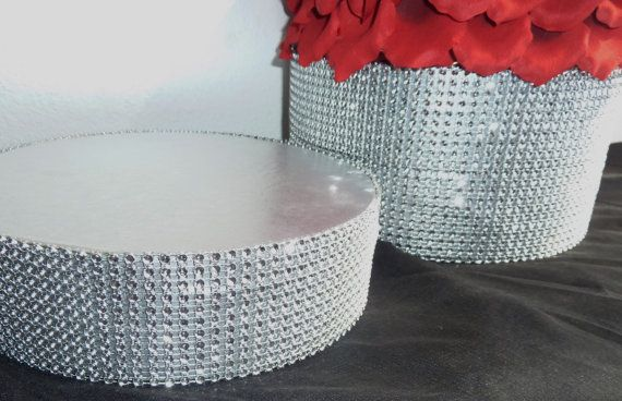 I want a rhinestone cake stand but I have to wait until I find out what size our cake will be. 12 14 16 round silver bling wedding cake by aprincesspractically, $49.00