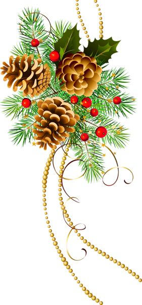 Three Christmas Cones with Pine Branch Clipart