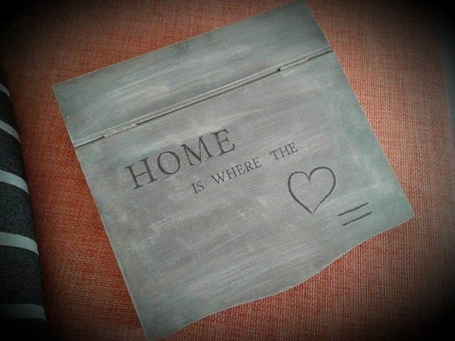 wooden box -  home is where the heart is - decoupage - home decor