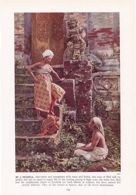 Two Bali men by a temple - color plate from 1940s book by route44west, $10.00
