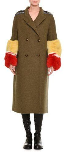 Ermanno Scervino Double-Breasted Military Coat with Fur Cuffs