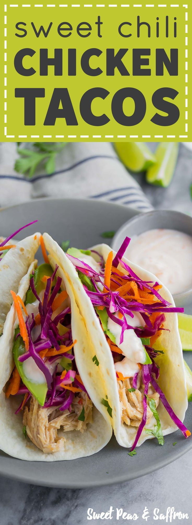 These Sweet Chili Chicken Tacos are made with slow cooker sweet chili chicken and topped with yogurt sauce.  Dinner is ready in 15 minutes!
