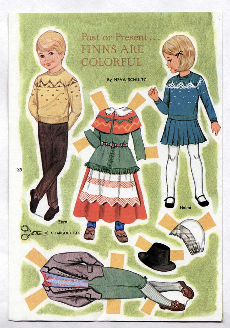 Vintage Finns Are Colorful Paper Dolls JLY 1968 Uncut Excel Neva Schultz Finland | eBay