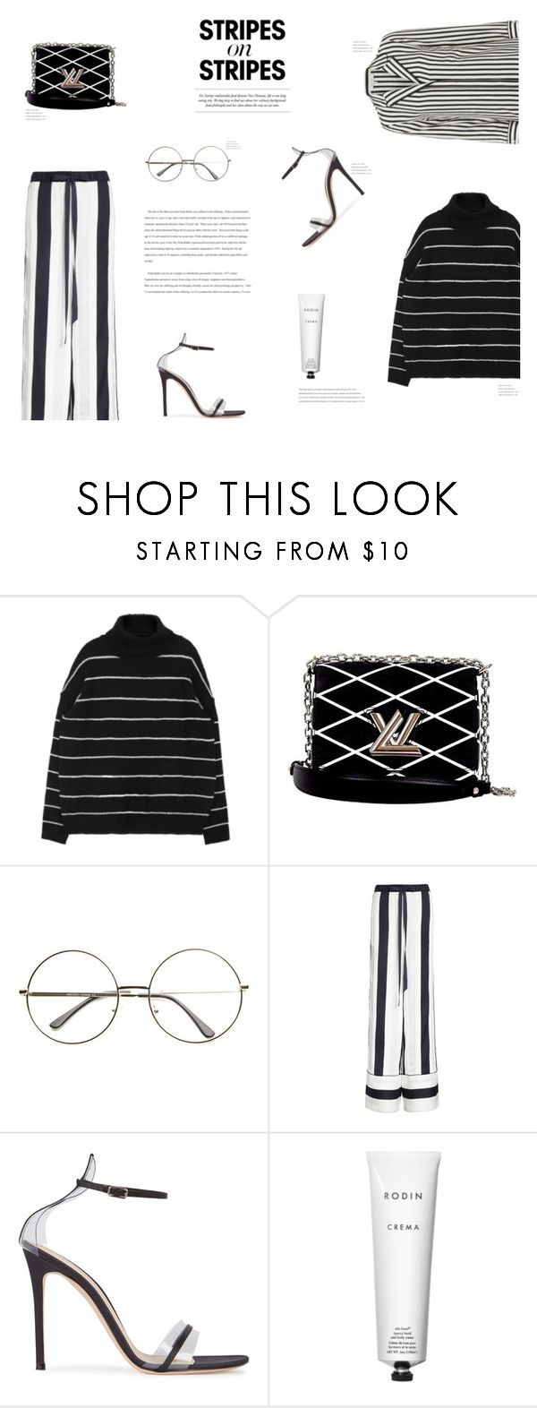 """""""STRIPES"""" by canvas-moods ❤ liked on Polyvore featuring Louis Vuitton, ADAM, Gianvito Rossi, Rodin, Frame, stripesonstripes and PatternChallenge"""