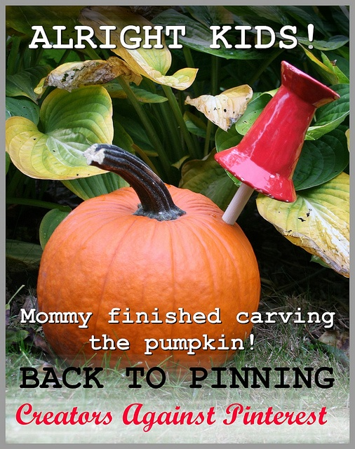 The pumkin is carved, back to pinning. by Los Amigos Del Fuego, via Flickr    Never mind how Pinterest is hurting artists, it's a terrible waste of one's time, and life.