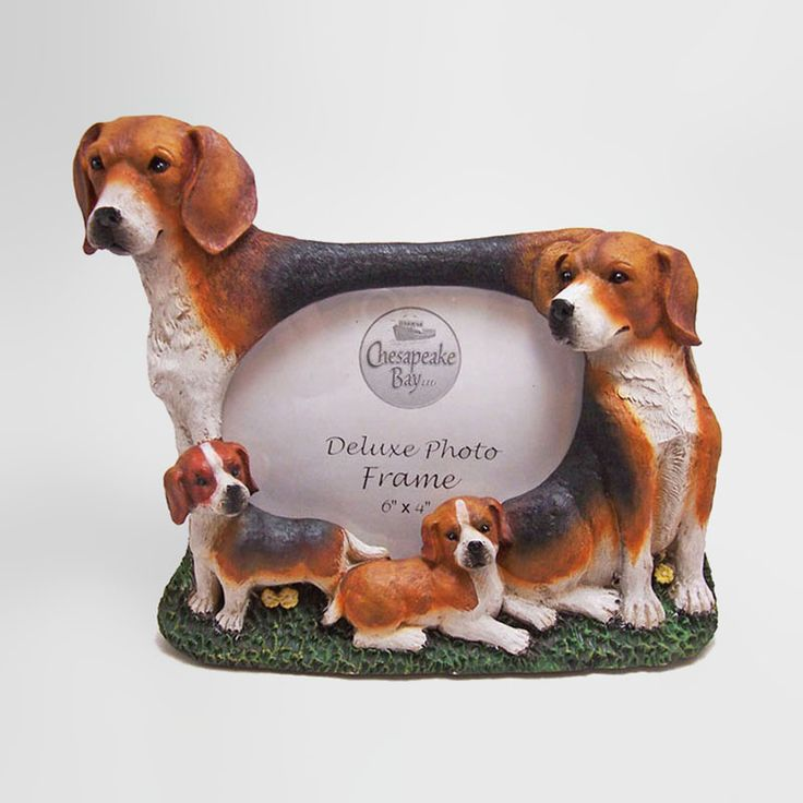 Beagle Dogs and Puppies Figurines Polyresin Picture Photo Frame - PFD664L  - Beagle dogs and puppies polyresin dog figurines table or desk photo frame with easel back. Holds one 6 x 4 picture. Great gift for your dog lover friend or yourself - FOR SALE at www.ClaudiasBargains.com