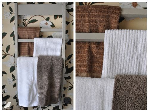 Old chair becomes a towel rack