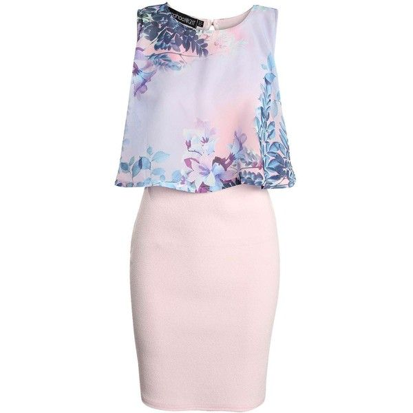 Boohoo Cara Floral Chiffon Layer Bodycon Dress featuring polyvore, fashion, clothing, dresses, layered dress, floral print dress, pink body con dress, boohoo dresses and pink chiffon dress