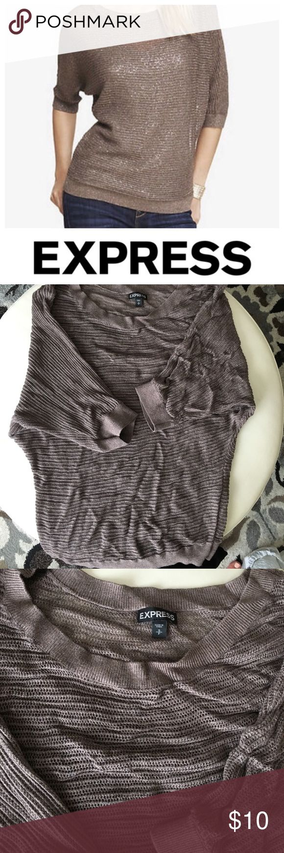 🎈Clearance🎈 Express Open Knit Dolman Sweater Mushroom-colored open knit sweater (the cover photo has a metallic thread, the actual item does NOT), looks great over a sequined tank. No flaws. Pet-free, smoke-free home. Express Sweaters Crew & Scoop Necks