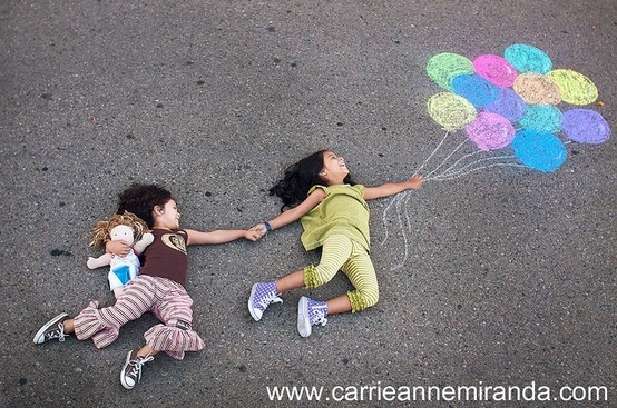Stage photos with your chalk drawings