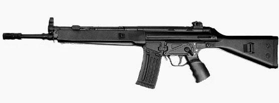 SIG SG 550    Tipo:  Fuzil automático/ Semi-automatico  Fabricante:  Swiss Armas AG (Anteriormente a SIG)   Lugar de origem:  Suíça   Núm... Find our speedloader now!  http://www.amazon.com/shops/raeind