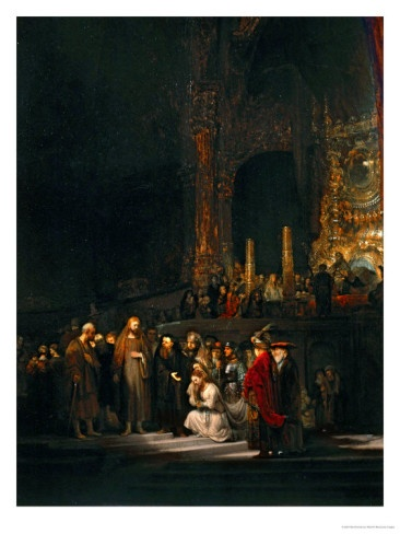 Rembrandt was a master of illumination and shadow. Note his use of light to mark the visual entrance of the painting. Amazing.