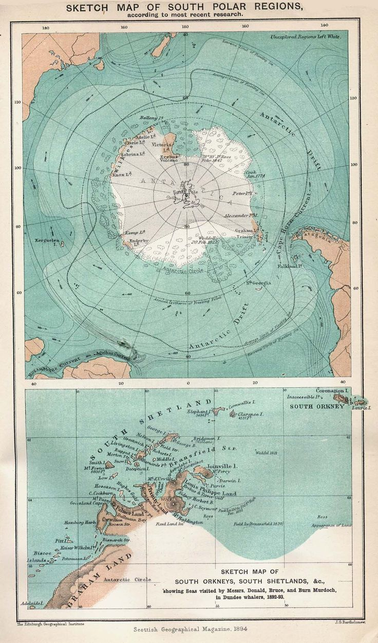 """Sketch Map of the South Polar Regions by the Scottish Geographical Magazine, 1894.  """"Note the small outline of the British Isles superimposed on the terra incognita of central Antarctica.""""  (Caption by William of the Garden of Forking Paths)"""