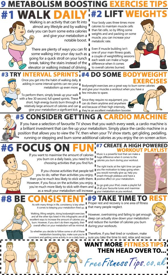 Want to max out your metabolism? Then check out these nine metabolism boosting exercise tips... | See more about exercise tips, metabolism and exercises.
