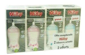 NUBY BIBERONS 330ML LOT DE 2 ROSES & 2 BLEUS - Le biberon Naturel Nurser SoftFlex de Nuby 3 mois +, la solution la plus proche de l'allaitement maternel.