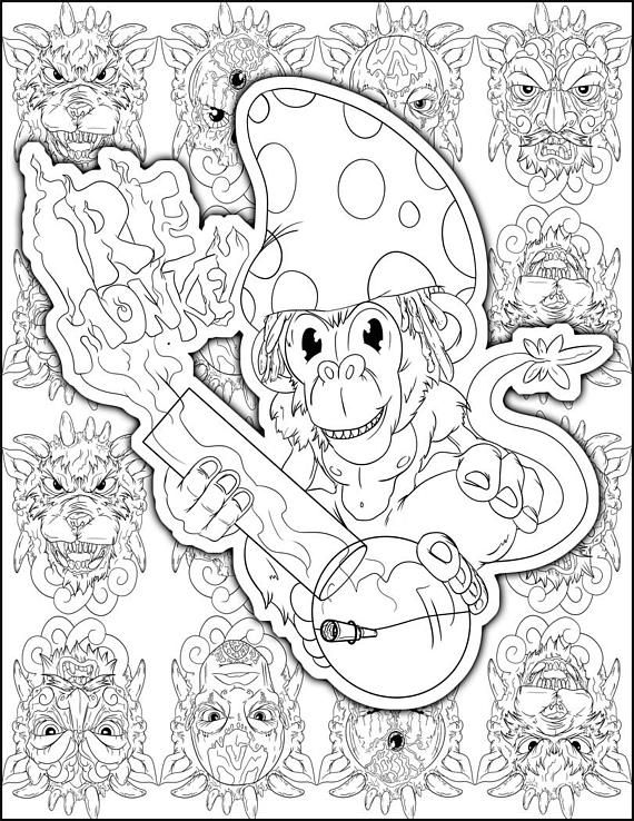 1 25 Perfect Stoner Gift Stoner Coloring Page Weed Art Adult
