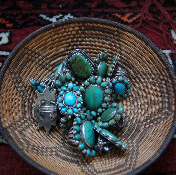 http://spellandthegypsycollective.tumblr.com/    gregthorneturquoise:  Turquoise rings featuring American Turquoise by Greg Thorne.