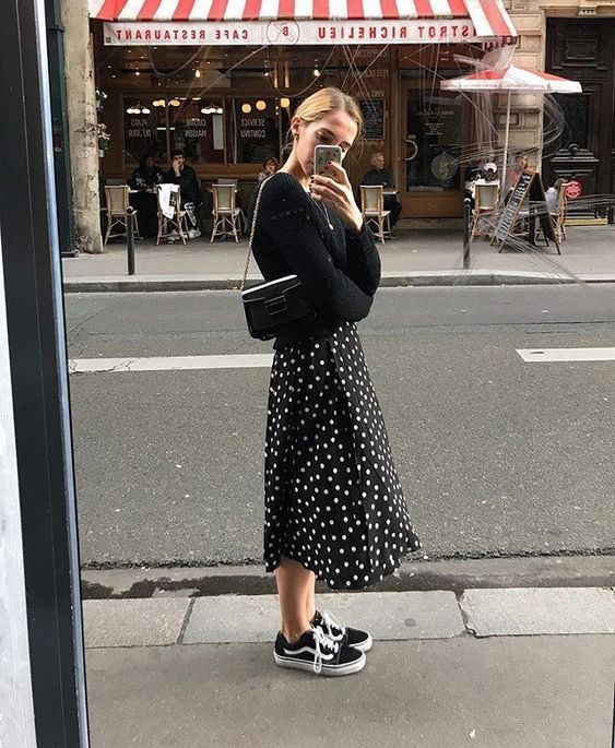 outfit inspiration, polka dot skirt