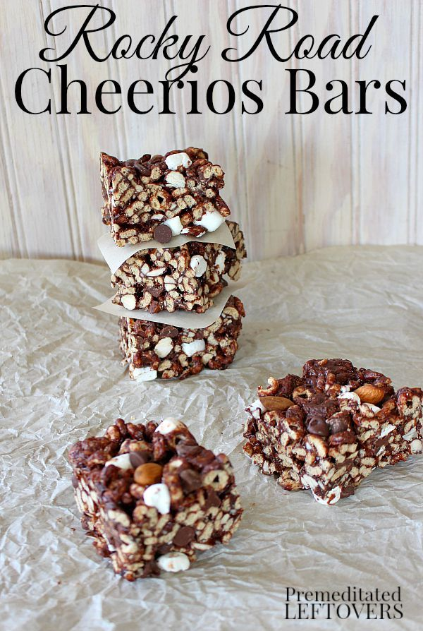Gluten-Free Rocky Road Cheerios Bars: a quick and easy no-bake cereal bar recipe! This is a fun dessert idea for kids. GlutenFreeCheerios AD