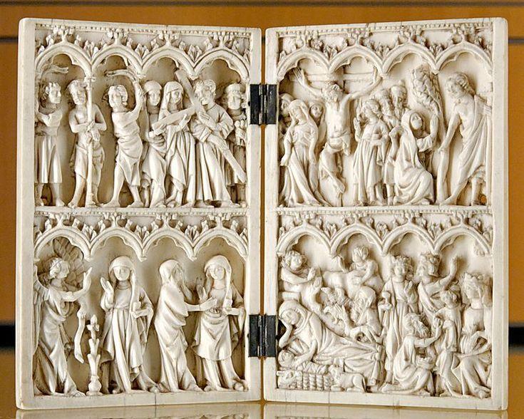 Diptico de marfil,realizado en Paris,ca  1380-1390   Museo de las Finas Artes-Lyon