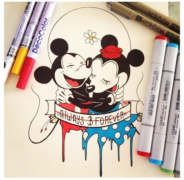 Cute Mickey And Minnie Mouse Drawing