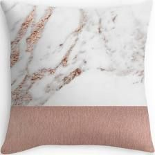 Rose gold marble and foil Throw Pillows