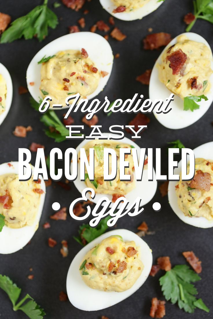 The BEST deviled egg recipe you'll ever make. Only 6 ingredients and 20 minutes are all you need to make these Easy Bacon Deviled Eggs. You may want to double the recipe...they'll go fast!