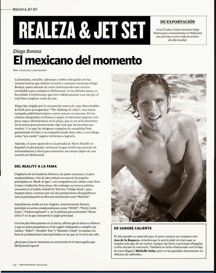"Diego Boneta Group: [SCAN] Diego Boneta en la revista ""Chic Magazine"" ..."