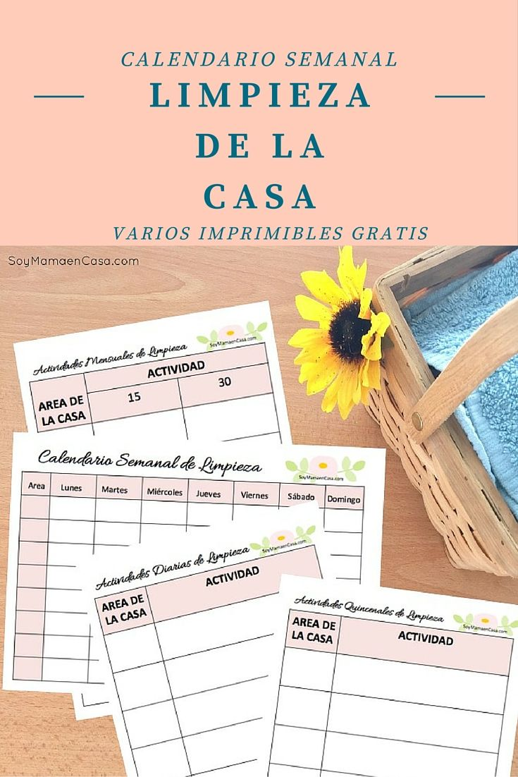 M s de 1000 ideas sobre calendario 2017 en pinterest - Organizar limpieza casa ...