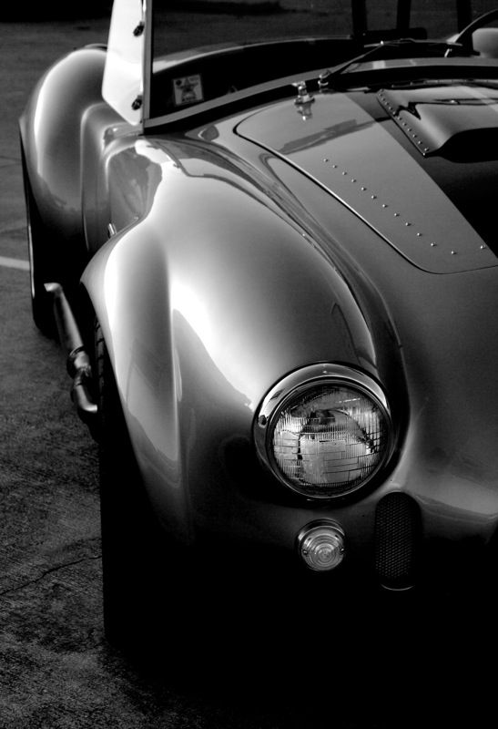 The Black Car - B  W art shot of the nose of a Shelby AC Cobra - 2005 - @~ Mlle
