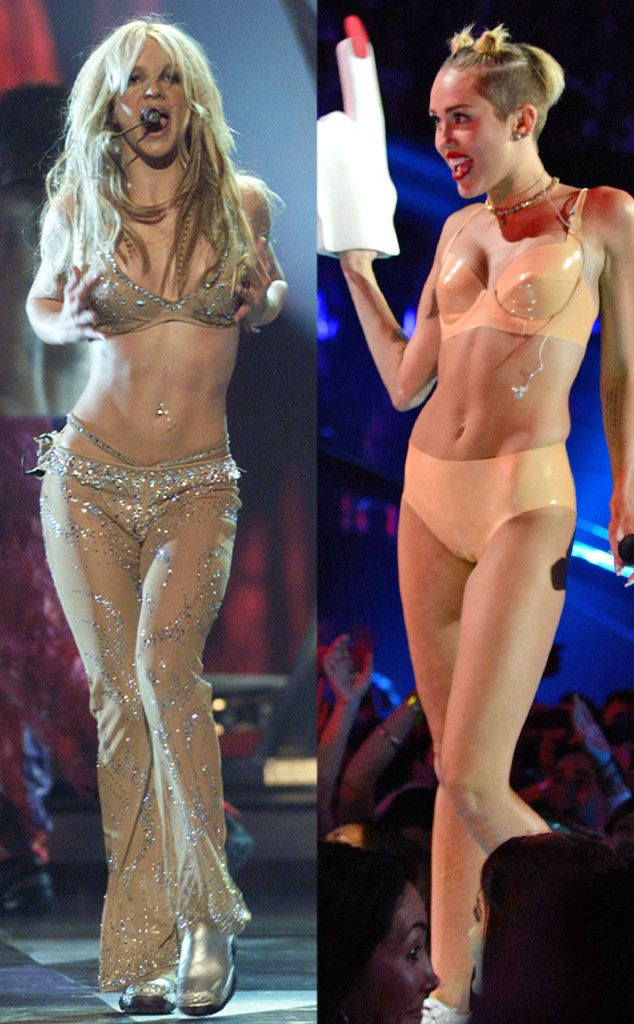 #Fashion face-off: Britney Spears vs. Miley Cyrus in VMA performance undies! Who wore their sexy look best? (Click to vote!)