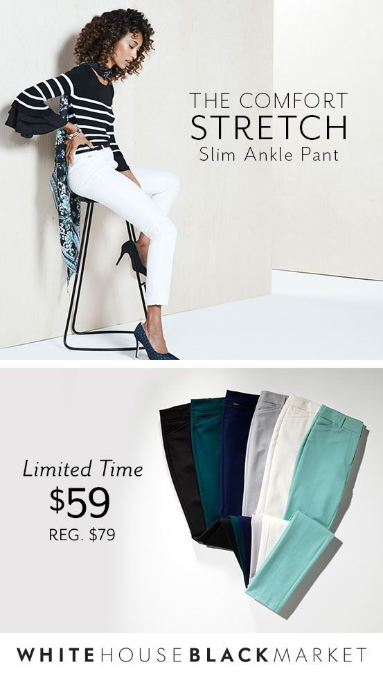 The pant you've been waiting for has arrived— The Comfort Stretch Slim Ankle Pant. Featuring a slim, smooth fit, crafted in wrinkle-resistant, bi-stretch fabric with superior shape retention,  you'll want to wear these every day of the week. Not to mention, they come in an array of colors. It truly is a pant that fits and feels like no other. Don't miss out— shop now and enjoy our $59 offer for a limited time only. | White House Black Market