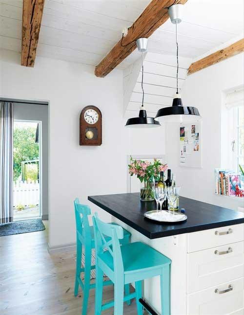 Best White Kitchen With Bright Blue Accent Kitchen 400 x 300
