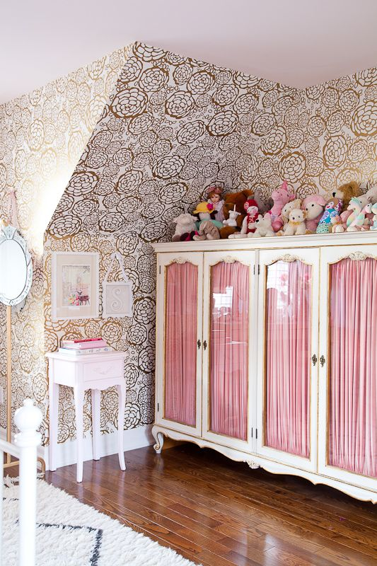 christine dovey pine girls room 11 antique wardrobe gold hygge and west wallpaper