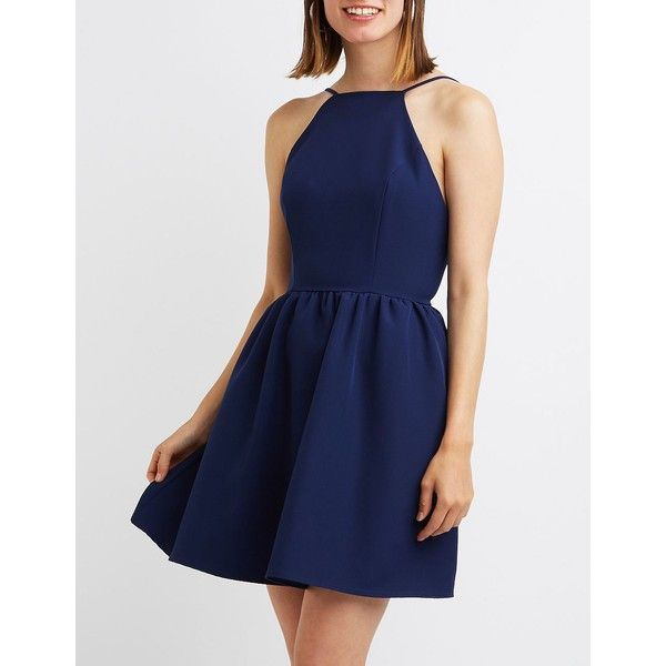 Charlotte Russe Bib Neck Backless Skater Dress ($30) ❤ liked on Polyvore featuring dresses, navy, navy skater dress, navy blue dress, blue dress, backless dresses and open back dresses