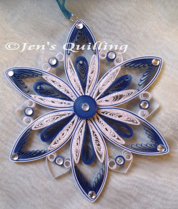 Quilled Snowflake Hanging Ornament by JensQuilling on Etsy. I love this quilled snowflake!