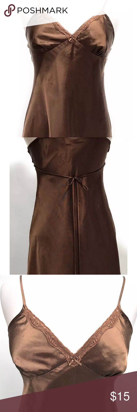 ADONNA Womens Nightie Silky Chocolate A-Line Small ADONNA Womens Nightie Silky Lingerie Chocolate Brown A-Line Ties in Back Size Small. Knee length. Adonna Intimates & Sleepwear Chemises & Slips