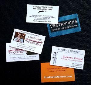 Mes multiples cartes d'affaires, reflet de mes multiples secteurs d'activité!