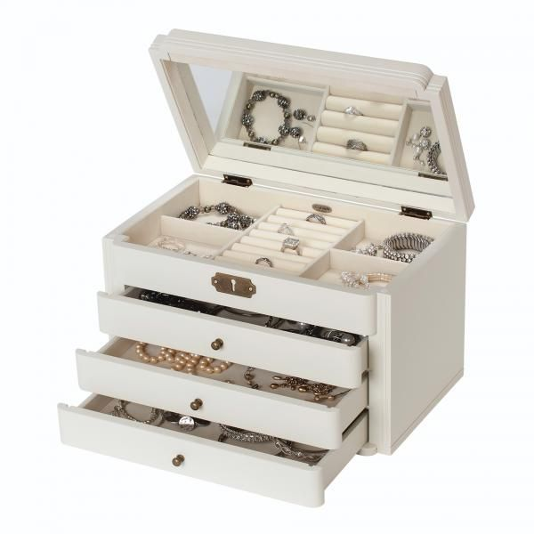 Ivory Wooden Jewelry Box Vintage Style Jewel Chest W Scalloped Facade Wooden Jewelry Boxes Wooden Jewelry Jewelry Organizer Box