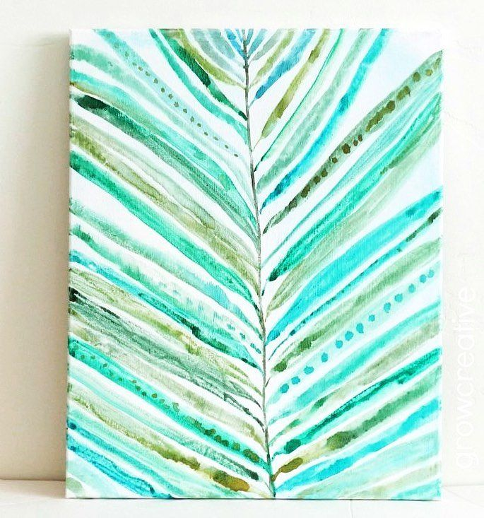 Palm Leaves Illustration By Elisa Engh Watercolor Canvas