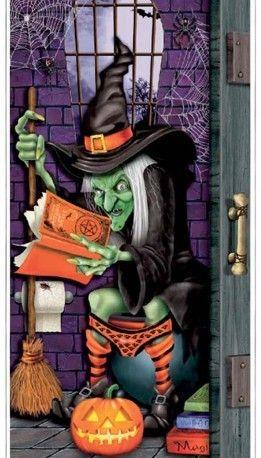 Cartel para puerta del baño, para decorar Halloween