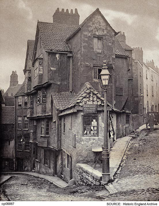 The junction of Steep Street and Trenchard Street, Bristol, England 1866