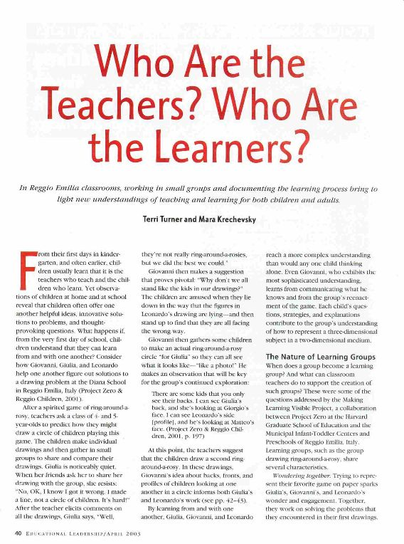 Who are the teachers? Who are the learners? Reggio Emilia classrooms article