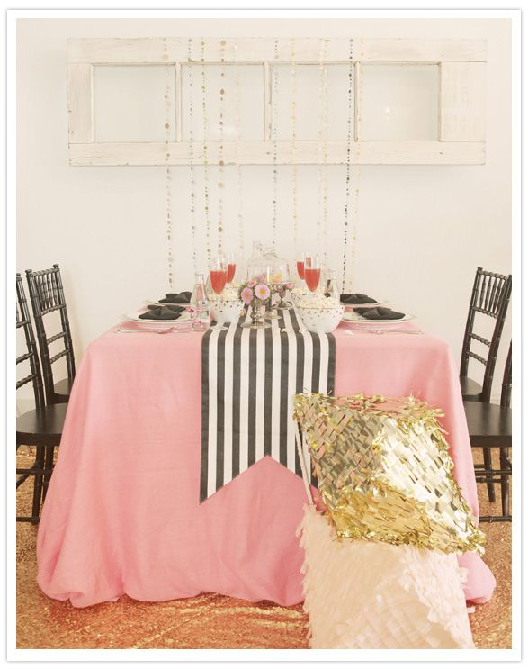 Simple Black and White Striped Table Runner