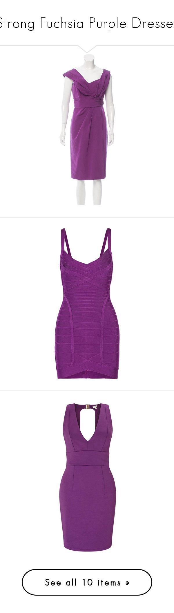 """""""Strong Fuchsia Purple Dresses"""" by tegan-b-riley on Polyvore featuring dresses, purple, sweetheart dress, pleated cocktail dress, faux-leather dress, mid calf dresses, sweetheart neck dress, short dress, violet and bandage dress"""