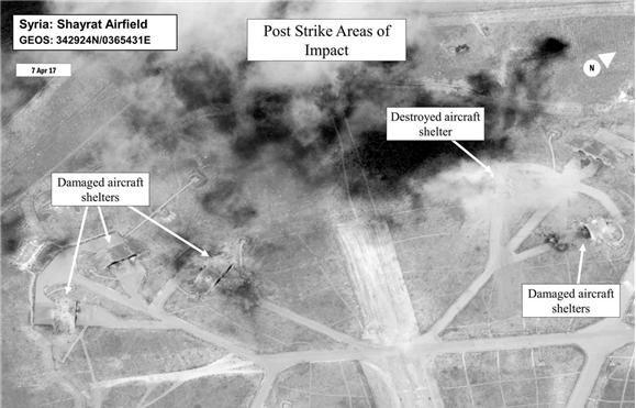 Guerra - Aviões de combate descolam de base síria atacada pelos EUA