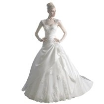GEORGE BRIDE A-Line Princess Sweetheart Chapel Train Organza Wedding Dress With Beaded Appliques