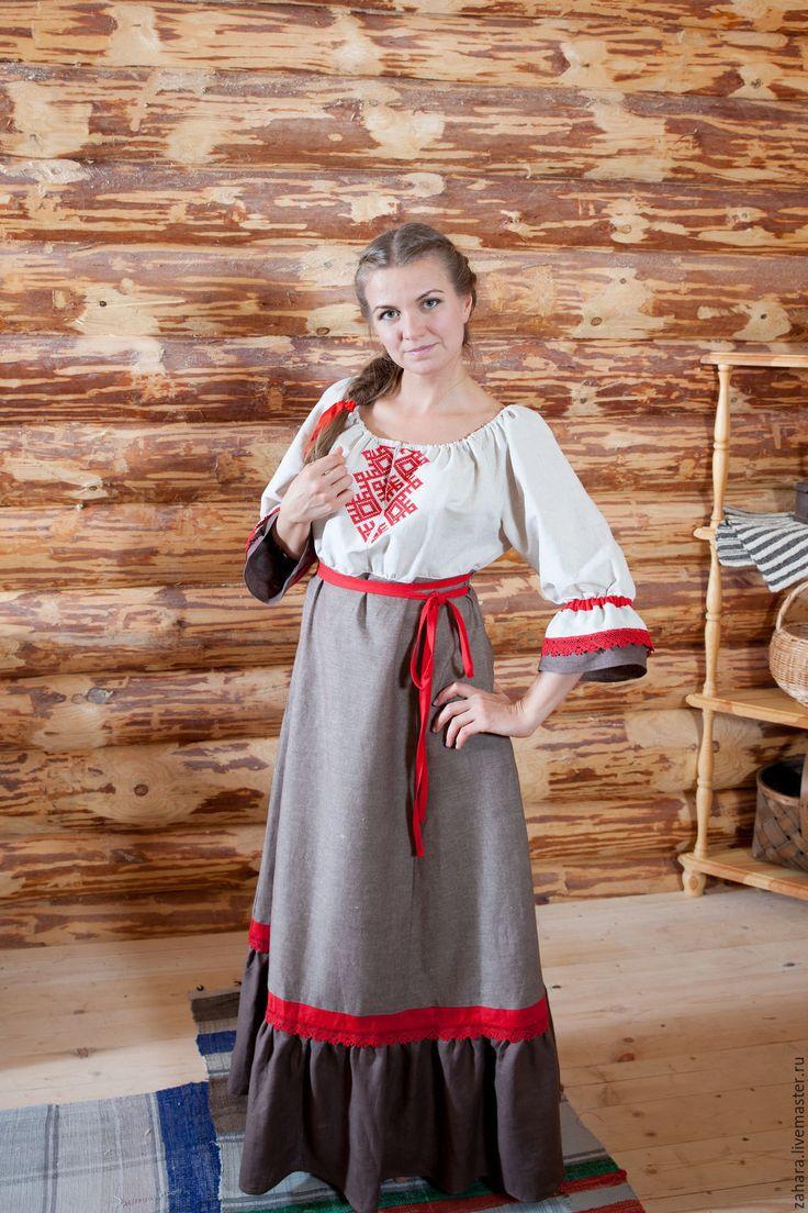 Купить Платье Мама с красным - комбинированный, лен, натуральный лен, ручная вышивка, льняное платье
