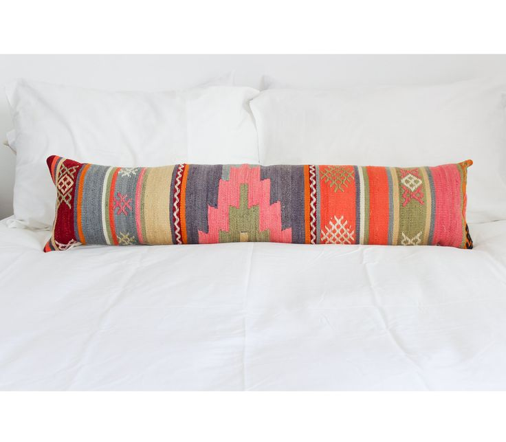Turkish Kilim Lumbar Pillow // Orange, pink, yellow, purple, perwinkle, green // DOWN FEATHER // Aztec, Navajo, Southwestern by ISIMOco on Etsy https://www.etsy.com/listing/211658621/turkish-kilim-lumbar-pillow-orange-pink